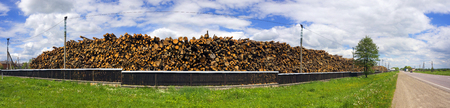Firewood in the background of the warehouse of a factory for the production of furniture  chipboard. huge number of mass tree trunks pile of cut-off destroyed trees of the European Forest