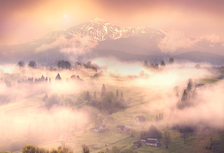 A gentle morning in the Carpathians, Ukraine. Wet waves of fog cover the mountain village of Transcarpathia against the background of the blue crests of ridges and peaks, wild forests