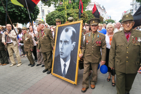 Ukraine, Ivano-Frankivsk - August 24, 2017: Independence Day is a state holiday of a sovereign European country. UPA veterans and Bandera portrait of Stepan Bandera ideologue nationalism