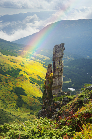 In the protected natural boundary of Chernogor, the Ukrainian Carpathians there are sharp huge rocks Spitz from the glacial age are ancient, this is a well-known tourist attraction