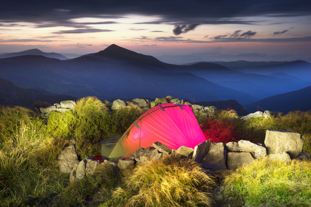 In the Ukrainian Carpathians, the highest region is Chernogor, the highest peak of Goverla. Bivouac climbers are hidden from the storm in the old trench with the First World