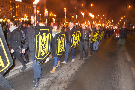 Ukraine, Ivano-Frankivsk, January 29, 2018: National Patriotic Forces of Ukraine torch procession in commemoration of the 100th anniversary of the feat 300 gymnasts under Kruty