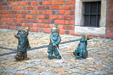 Poland, Wroclaw, October 30, 2017: The bronze gnomes became the symbol of Wroclaw and one of the famous landmarks of the city in Poland. There are maps for searching the city