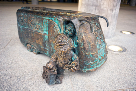 Poland, Wroclaw, October 31, 2017:Bronze gnomes became a real symbol of Wroclaw and one of the main tourist attractions of the city in Poland. There are special maps, excursions  Editorial