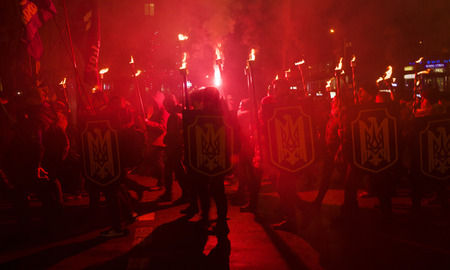 Ukraine, Ivano-Frankivsk, January 29, 2018: National Patriotic Forces of Ukraine torch procession in commemoration of the 100th anniversary of the feat 300 gymnasts under Kruty Stock Photo