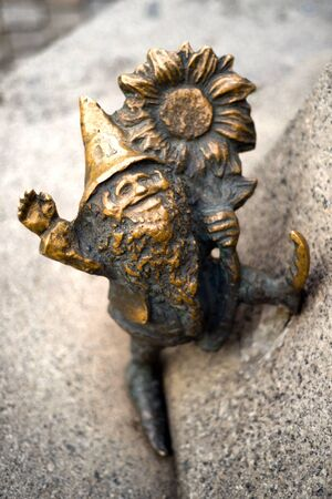 Poland, Wroclaw, October 30, 2017: Bronze gnomes became a real symbol of Wroclaw and one of the main tourist attractions of the city in Poland. There are special maps, excursions