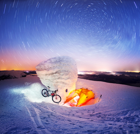 Extreme winter ascent at night to the highest peak of Ukraine in Europe with an overnight stay in a severe frost with picturesque color and an original fantastic plot under the stars