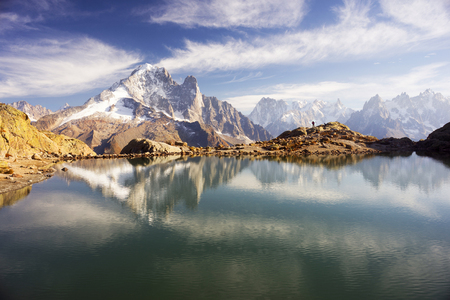 Mont Blanc Chamonix France autumn - picturesque lakes are fantastically beautiful after the first frost against the background of the steep peaks of the Alps with glaciers and rocks Stock fotó