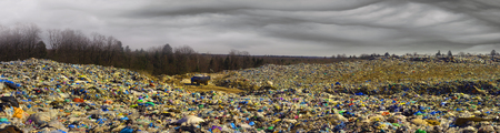 Modern civilization leaves behind huge mountains and heaps of garbage, which covers the ecology of forests and fields, poisons the earth and water. Trash wave like a tsunami is attacking the forest.