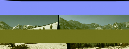 As a result of a data transfer error when pasting a panorama, the computer saved the damaged data file with geometric and color distortions.