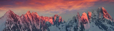 Polish and Slovak Tatras in the spring and winter are beautiful, the glaciers and rocky peaks are similar to the Alps and the Caucasus and are very popular with climbers. Stock Photo