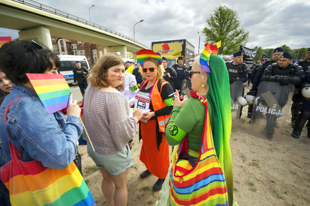 Poland, Gdansk, May 25, 2019: A community of traditional values protests against the march of equality and tolerance, saying that homosexuality brings illness and destroys families. LGBT Gathers Petition Signatures