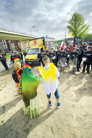 Poland, Gdansk, May 25, 2019: A community of traditional values protests against the march of equality and tolerance, saying that LGBT brings illness and destroys families. Police severing, does not allow conflicts and fights