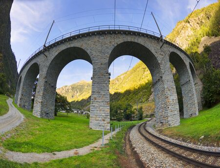 This is Brucios viaduct, like a snake twisting into its own tail. Bernina is the highest railway corridor in Europe without gears, amid beautiful mountains and the city