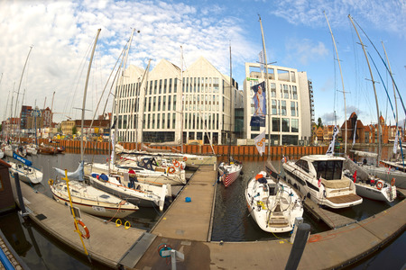 Poland, Gdansk, May 25, 2019: Gdansk in Poland and its embankment - port and marina with modern and old ships, motor and sailing, expensive and cheap