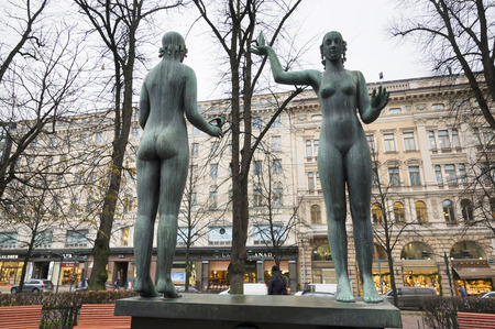 Finland, Helsinki, November 12, 2019: capital of the northern country is known for creative and traditional sculptures in the streets and squares of bronze, ceramics, stone and other materials.