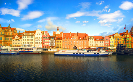 Poland, Gdansk, May 25, 2019: Gdansk in Poland and its Embankment - a famous place loved by tourists from all over Europe with ancient Polish and German architecture