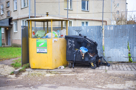 Ukraine, Ivano-Frankivsk, November 20, 2019: Unknown pests burned a plastic trash can. This is either vandals for the sake of the destruction, or a competing garbage collection company. Or careless sm 報道画像