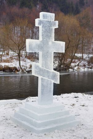 The Feast of the Baptism of Christ the Son of God in the Jordan River is celebrated for 2,000 years in Europe and America. Traditional swimming and carved ice cross.