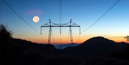 Power lines for the economy and people run through the Alps. High mountains and difficult installation conditions amaze the traveler