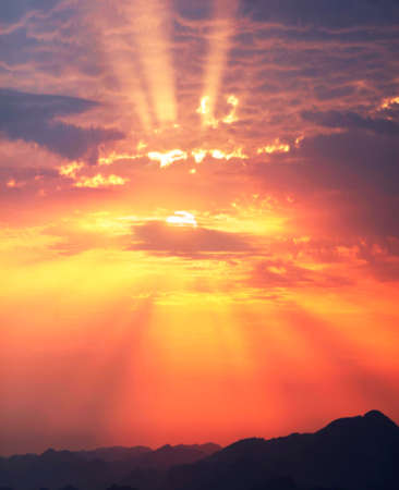 Sunset and sunrise against the beautiful clouds of red purple and pink with bright hot rays symbolize the beginning of a new day, good and peace