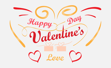 Happy Valentine's Day with handwritten Design, Heart-shaped ribbon gift box Vector Illustration