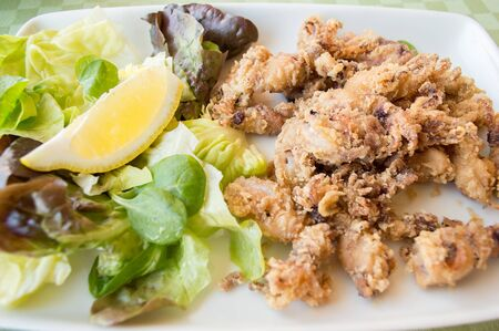 tast: spanish traditional Andalusian plate of fried calamari breaded Stock Photo