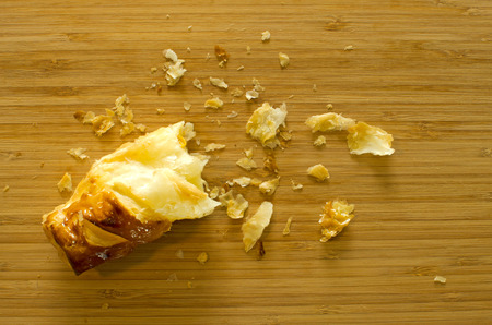 crumb: Crumb pie bread on wood table