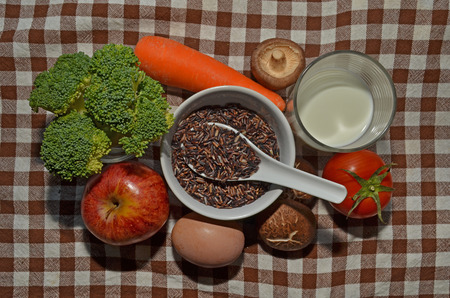 protien: Black rice with fruit and vegetables Stock Photo