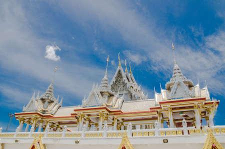 stucco: White stucco thai buddhist temple with cloud Stock Photo