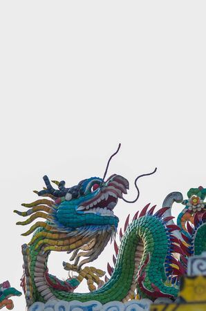 Colorful chinese dragon stucco arts isolated on white background, clipping path. Banque d'images