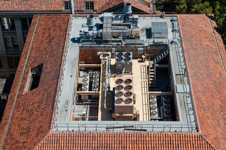 view on a roof with air conditioning from high above Stockfoto