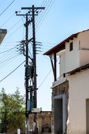 typical electricity pole on Crete