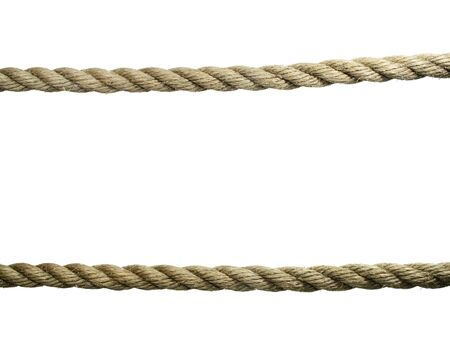 two horizontal old natural fiber ropes isolated on white Stock Photo