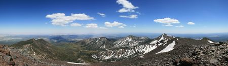 mount humphreys: Panorama of the San Francisco peaks from the summit of Mount Humphreys Stock Photo