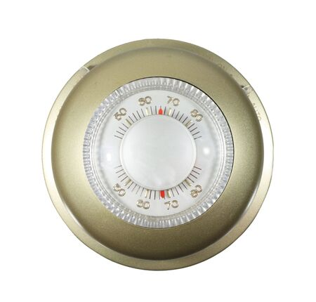 analog thermostat set to 66 degrees isolated on white