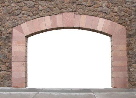 stone wall: A stone arch in a wall with the opening isolated in white