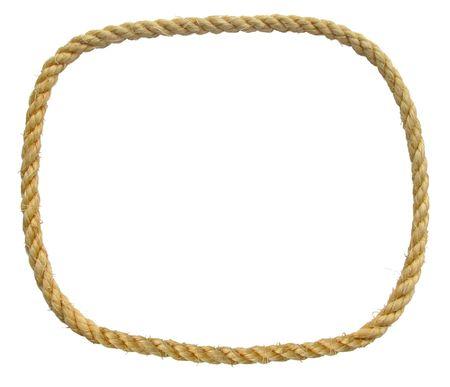 loop infinito di corda di fibra naturale di una frontiera isolato su bianco