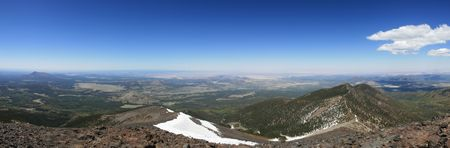 Panorama of northern Arizona from the summit of Mount Humphreys Stock Photo