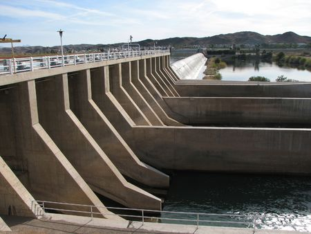 The Imperial dam on the Colorado River between Arizona and California Stock Photo