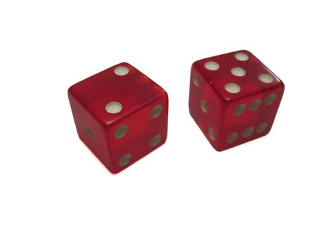 a five and a two rolled on red dice isolated on white