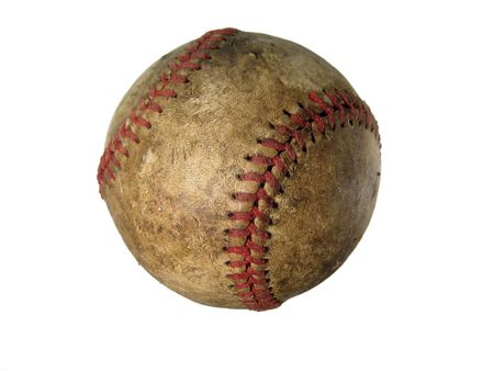 An old scratched up stained baseball isolated on a white background