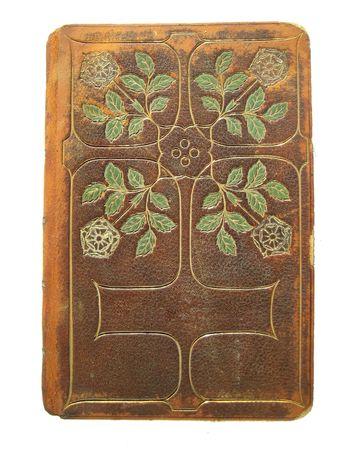 tooled leather: copertina del libro di fantasia cuoio lavorato con spazio di copia per titolo