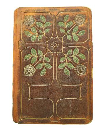 fancy tooled leather book cover with copy space for title