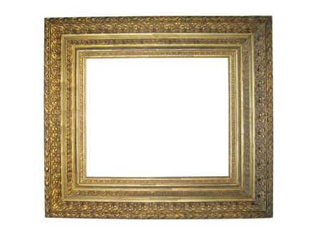 antique ornate gilt picture frame isolated on white Zdjęcie Seryjne