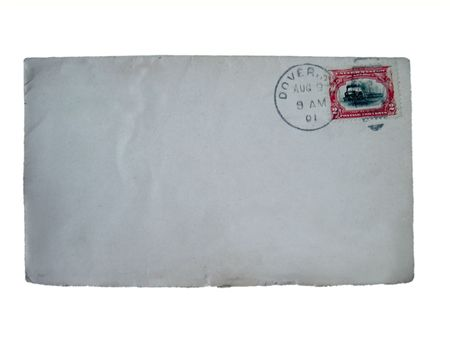 old envelope: a cancelled blank stamped envelope sent from Dover, 1901, with copy space isolated on white
