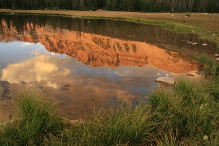 hayden: reflection of Mount Hayden in a small pond in the Uinta Mountains, Utah Stock Photo