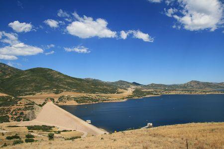 Jordanelle dam blocks the Provo River to create Jordanelle Reservoir in Utah