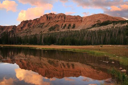 uinta mountains: reflection of Mount Hayden in the Uinta Mountains, Utah Stock Photo