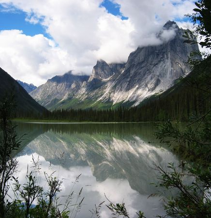 northwest: mout harrison smith reflected in glacier lake, Northwest Territories, Canada